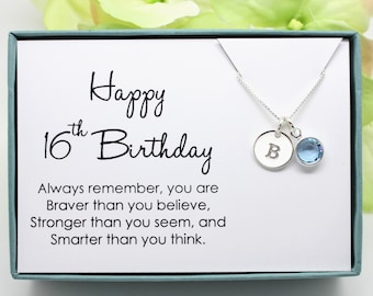 16th Birthday Gift For Girl Birthstone Necklace Sweet 16 925 Sterling Silver Initial Personalized Sixteenth