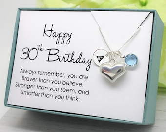 30th Birthday Gift For 30 Year Old Woman 925 Sterling Personalized Necklace With Initial Heart And Birthstone Thirtieth