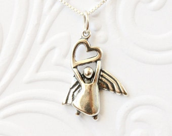 Guardian Angel necklace 925 Sterling silver charm birthday gift for daughter, niece, friend, thinking of you, angel charm, bless your heart