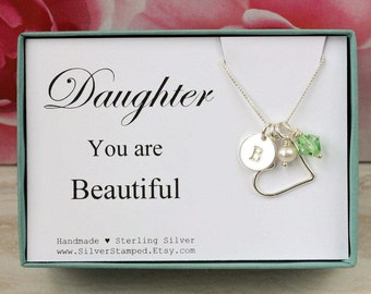 Daughter necklace etsy daughter necklace gift sterling silver birthstone necklace initial necklace daughter jewelry personalized birthday gift aloadofball Choice Image