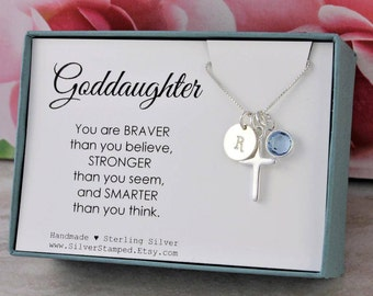 Easter Gift For Goddaughter Necklace Sterling Silver Initial Birthstone Cross God Daughter Birthday Graduation Baptism