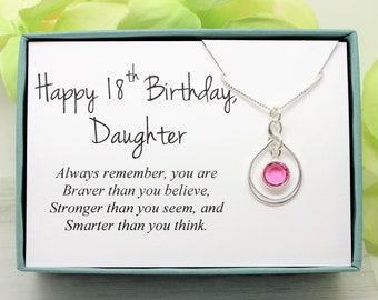 18th Birthday Gift For Daughter 925 Sterling Silver Swarovski Birthstone Necklace Eighteenth From Mom Or Dad Parents