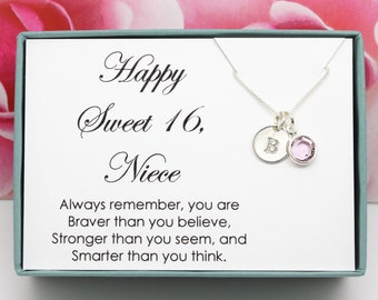 Sweet 16 Gift For Niece Birthstone Necklace Nieces 16th Birthday 925 Sterling Silver Personalized Sixteenth