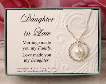 Daughter In Law Gift From Mother Sterling Silver Necklace Eternity Circle Swarovski Pearl Box Bridal Wedding Birthday