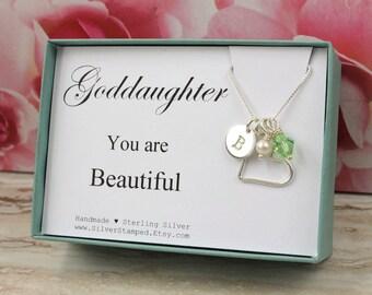 Godchild easter etsy goddaughter gift necklace for goddaughter sterling silver birthstone initial communion necklace goddaughter jewelry easter gift negle Images