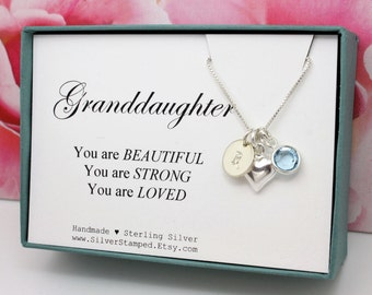 Gift For Granddaughter Necklace Sterling Silver Initial Heart Swarovski Birthstone You Are Loved Granddaughters Birthday