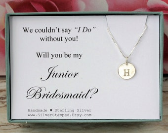 Will you be my Junior Bridesmaid invite 925 sterling silver initial necklace personalized gift for Jr Bridesmaid jewelry Bridesmaids' gifts