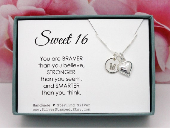 Sweet 16 Birthday Gift For Girl Necklace Sterling Silver