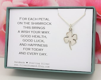 Shamrock charm necklace, Good luck gift, Sterling Silver, lucky charm, four leaf clover, Graduation gift for her, St Patrick's Day gift