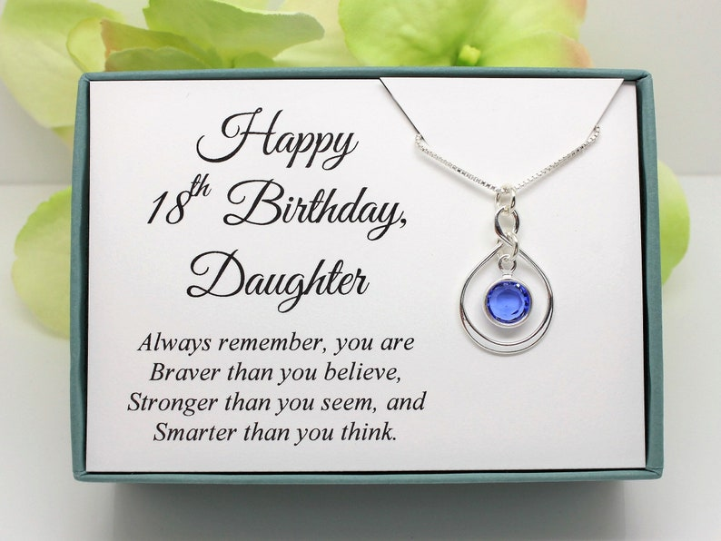 Gift For 18th Birthday Daughter Sterling Silver Select A Swarovski Birthstone Necklace 18 Year Old