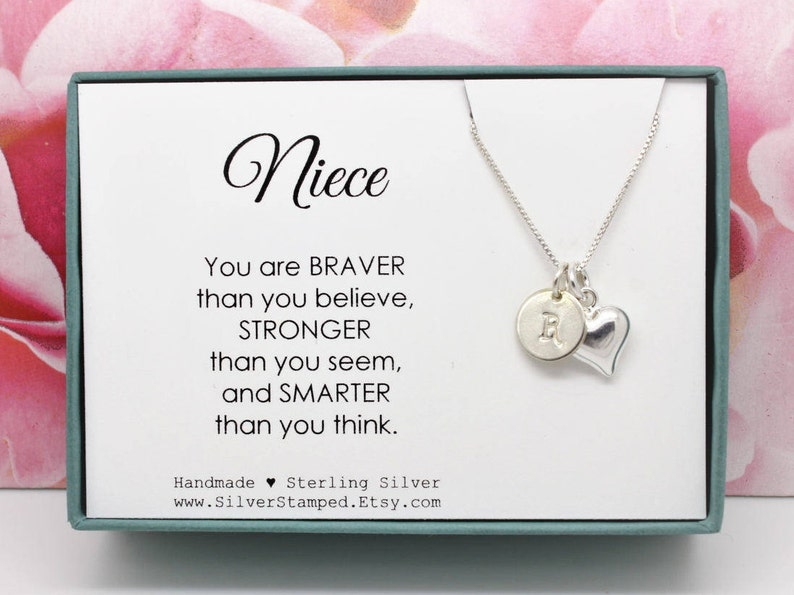 Gift For Niece Necklace Sterling Silver Initial You Are