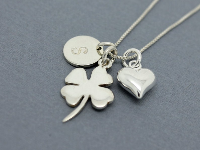 63b65e198cf3 Shamrock necklace Sterling Silver initial charm St