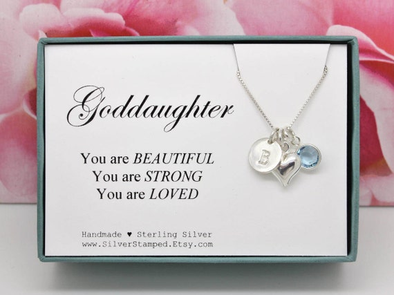 Gift For Goddaughter Birthstone Necklace Sterling By