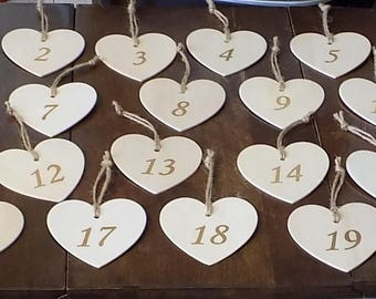 Rustic Wood Heart Table Number Tag, 1-20, Engraved, Wedding Table Sign