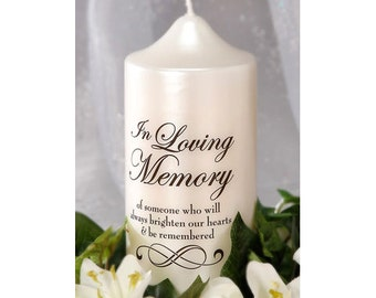 Wedding Memorial Candle Decal, In Loving Memory Sticker, Remembrance Decal, Memory Devotional Candle or Vase Decal Sticker