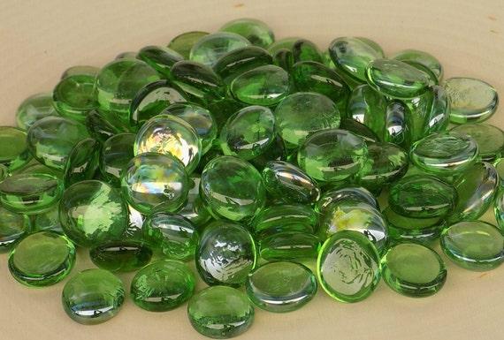 25 Flat Marbles Green Glass Gems Pebbles Stones Vase Etsy