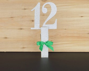 Large Rhinestone Wood Clothes Pin Table Number Holder, Place Card Holder, Wedding Table Markers, Table Card Holder
