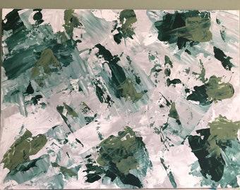 """Green Camo Abstract Art 12""""x16"""""""
