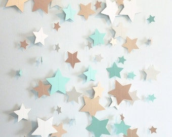Mint, Shimmer Gold, and Ivory Stars Paper Garland   Baby Shower Decor