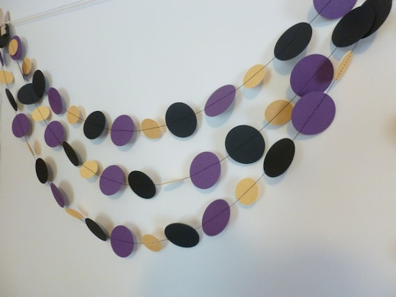 Purple Black Gold Party Garland Football Party Decor Etsy