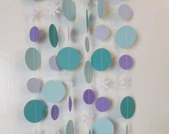 Princess Party Garland | Purple Turquoise and Snowflakes Holiday Christmas Tree and Home Decor