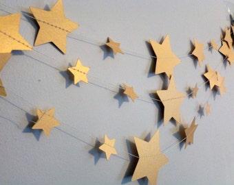Gold  Metallic Shimmer Stars Paper Garland   Mixed Sizes   Baby Shower Nursery Decor