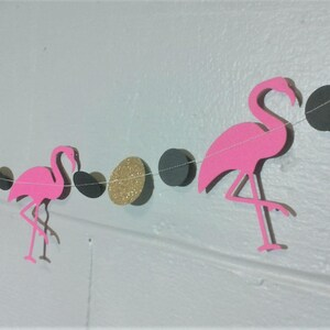 Flamingo Party Decor Glitter Gold Garland Pink Flamingo Garland Pink Flamingo and Glitter Gold Patio Party Decor