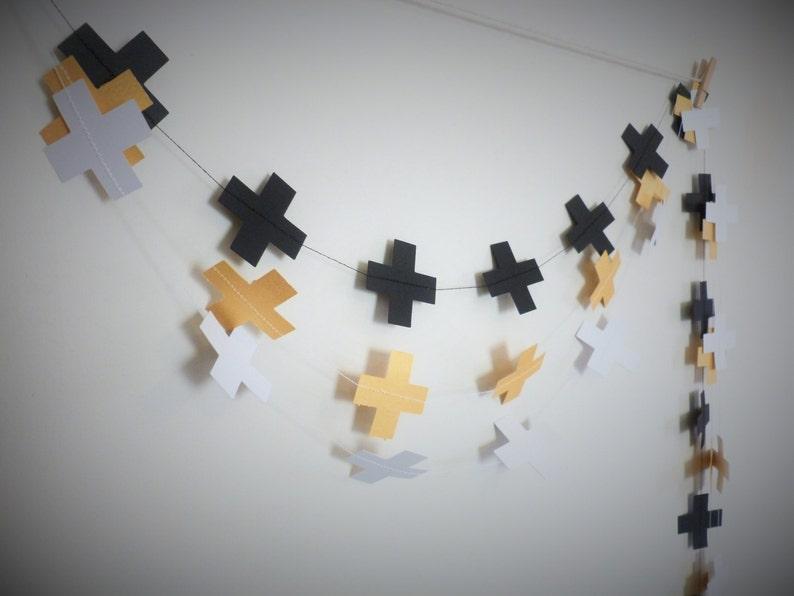 Minimalist Birthday Decor Gold Cross Decor Swiss Cross Gold Shimmer Geometric Garland Gold Paper Garland