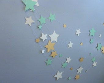 Mint, Shimmer Gold, and Ivory Home Decor Star Garland   Summer Cottage