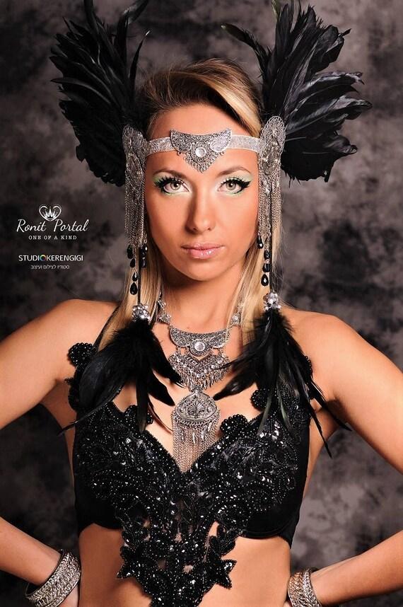 Black Feathers Headpiece, Burning Man Fashion, Festival Costume , Tribal Headpiece, Gypsy Headdress ,Festival Clothing, Indian Headpiece by Etsy