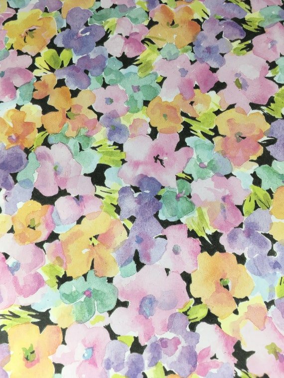 Vintage floral gift wrap pastel flowers black background etsy image 0 mightylinksfo