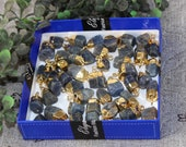 DIY Gold Electroplated Natural Blue Sapphire Rough Nugget Charm Raw Gemstone Jewelry Making Supply Bracelets Charms Mini Pendants RO11