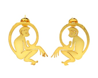 22kt Gold Plated Monkey Hoop Earrings  40x38mm Handcrafted Designer Animal Earrings  Gift For Animal Lovers  Animal Jewelry  Gift Idea
