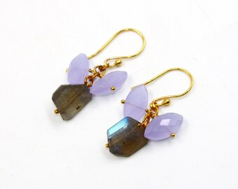 54x21mm Natural Labradorite /& Fire Rainbow Quartz Beaded Earrings  Wire Wrapped Gemstone Cluster Earrings  Handcrafted Earrings  PI95