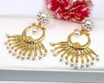 22kt Gold Plated Shell Pearl Flower Earrings  Designer Floral Long Earrings  Handcrafted Earrings  Bridesmaid Earrings  Gift For Her