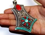 Tibetan Turquoise, Coral, Lapis Brass Inlay Nepal Jewelry Wire Work Pendant Ethnic Tribal Statement Jewelry Gypsy Large Boho Pendant