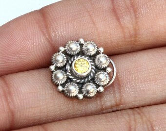 925 Solid Silver Floral Pierced Nose Pin  Traditional Indian Large Nose Ring  Nostril Screw  Wire Nose Stud  Banjara Tribal Ethnic NR116
