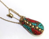 Tibetan Perfume Bottle with Coral, Turquoise Brass Inlays Wire Work Tibetan Mosaic Snuff Bottle Necklace Nepali Pendant Jewelry Making