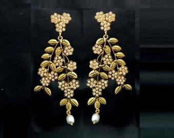 Wedding Jewelry  Gift For Her 22kt Gold Plated Wrinkled Design White Enamel Flower Earrings  Handmade Designer Pearl Earrings  Bridal