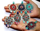 Nepal Tibetan Round Pendant with Turquoise, Lapis Coral Inlays Handmade Tibetan Jewelry Large Bohemian Pendant Ethnic Nepali Pendant