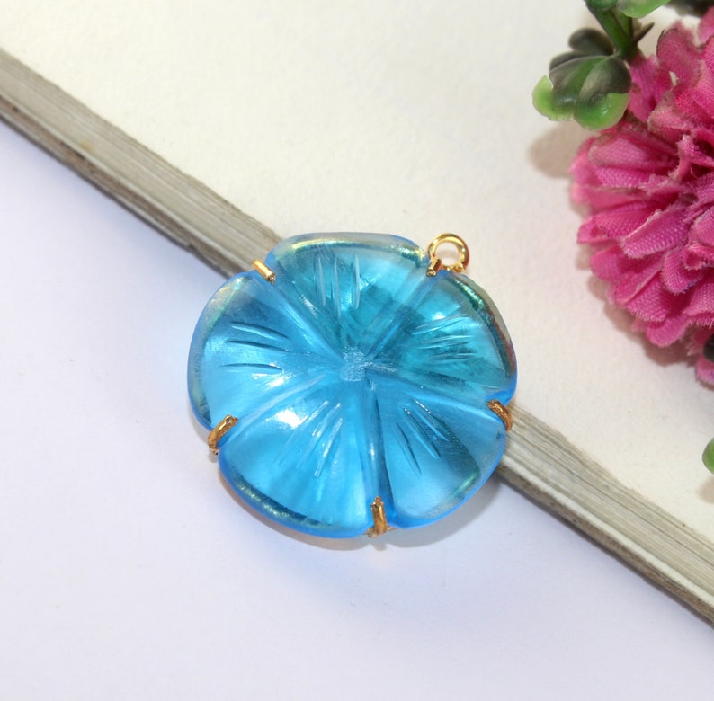 Gold Plated Connector Single Loop Gemstone Pendant DIY Jewelry Making 1 Pc 34x30mm Swiss Blue Quartz Hand Carved Prong Set Flower Pendant