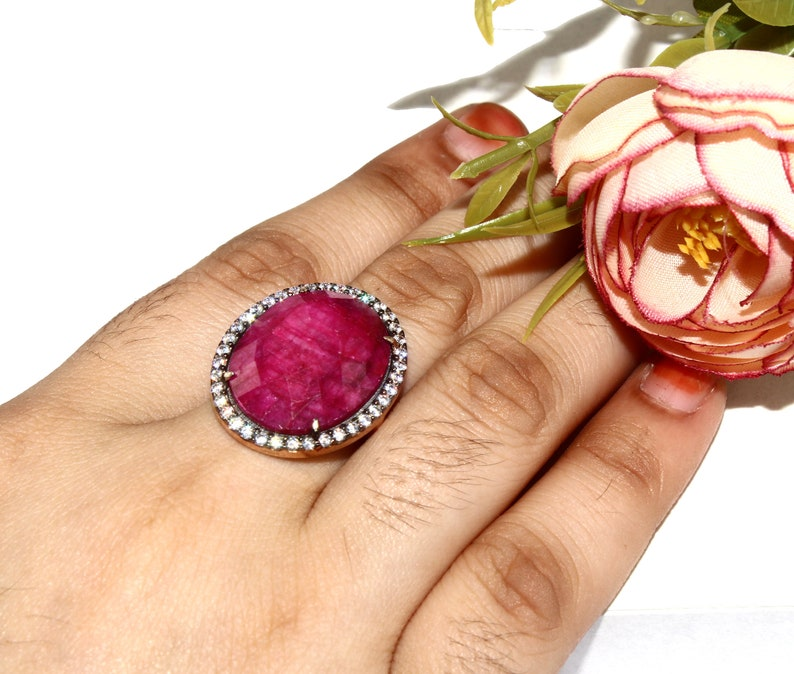 925 Sterling Silver Natural Ruby Ring  Size US 7.5  Rose Gold /& Black Rhodium Vermeil Ring  Zircon Pave Wedding Jewelry  Gift Idea