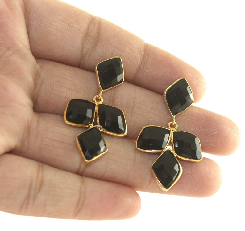 1.65 Faceted Black Onyx Bezel Set Long Earrings  18k Gold Plated Gemstone Earrings  Four Stone Earrings  Bridal-Wedding  Gift Idea BZ09