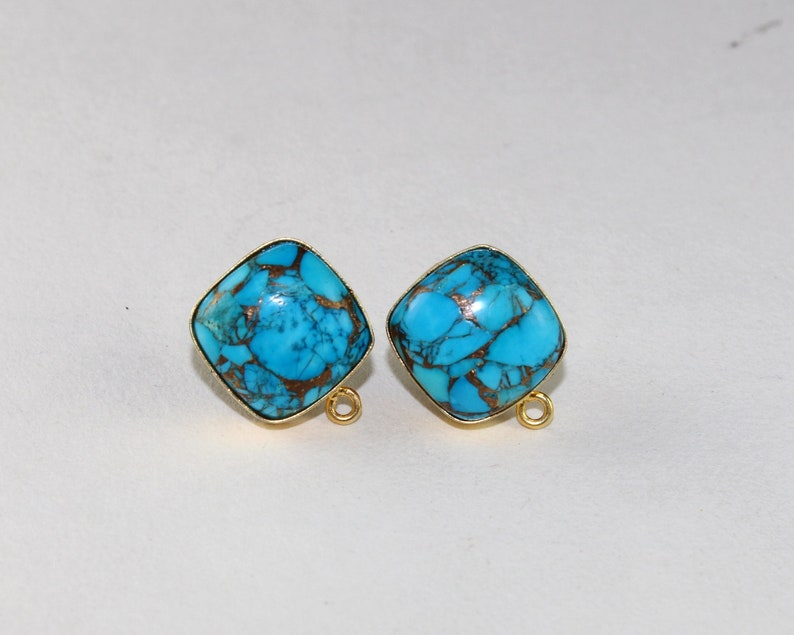 DIY 1 Pair 15mm Mojave Turquoise Cushion Ear-post  Gemstone Stud Ear-post  Jewelry Making Components  Jewelry Supplies  Findings  GC39