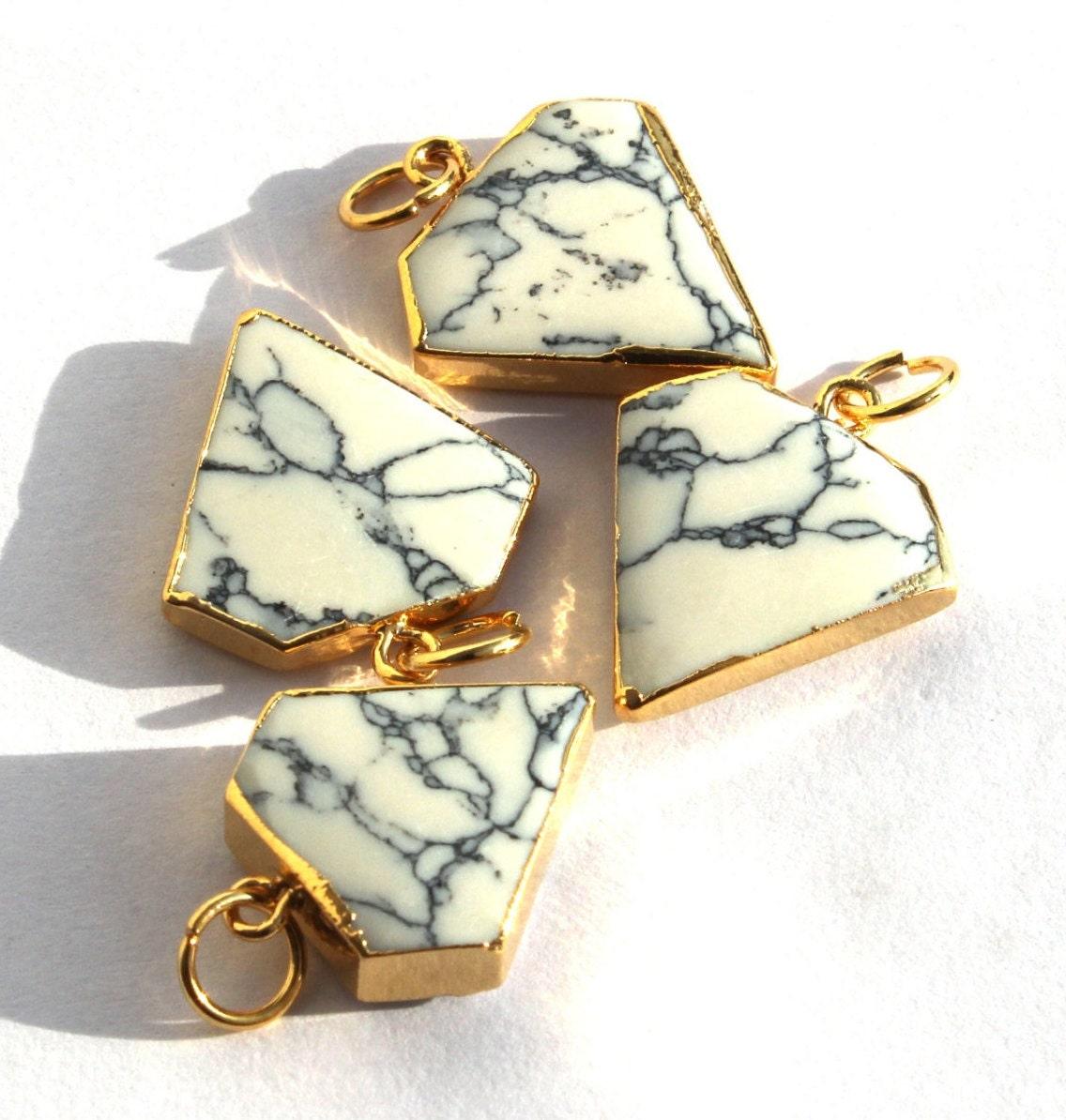 Single Bail Pendant 1 Pc 31x11mm Gold Electroplated Edge Howlite Sediment Gemstone Pendant DIY Jewelry Making Bar Station Pendant MX14