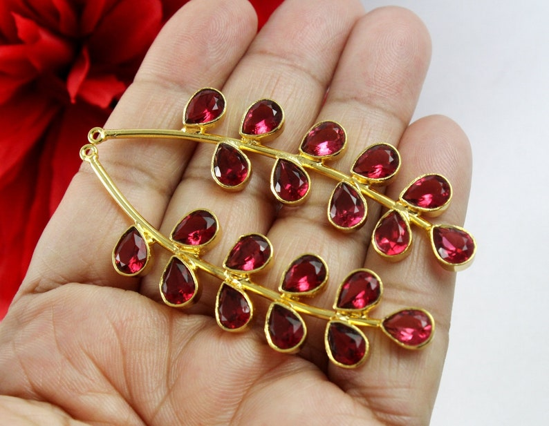 DIY Jewelry Making Component Select Color Gemstone Branch Pendant 71mm 22k Gold Plated Morganite Quartz Branch Pendant Earrings Findings