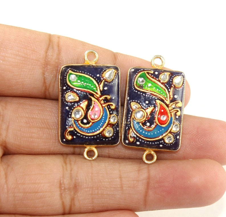 1Pc DIY 24x18mm Bezel Set Lapis Lazuli Tanjore Pendant  22kt Gold Plated Double Loop Gemstone Connector  Jewelry Making-Supplies MB13