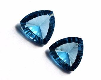 1 Pair London Blue Quartz Concave Cut Trillion Briolettes Size 14x14mm Approx