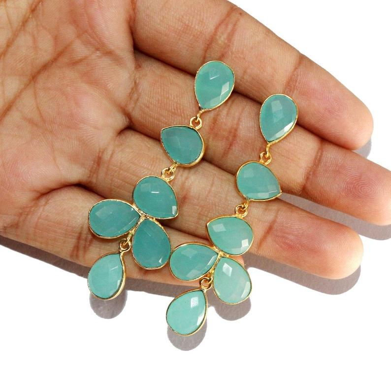 2.59 Bezel Set Aqua Chalcedony Long Pear Earrings  Six Stone Gold Earrings  Gift Idea  Bridal-Wedding Jewelry  Gemstone Earrings LE53