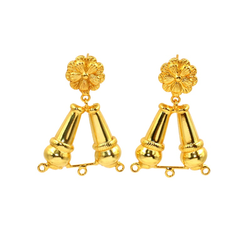 22Kt Gold Plated Designer Flower Earrings Connector  44x31mm Earring Findings  Handcrafted Jewelry Components  DIY Jewelry Making Supply